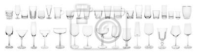 Naklejka Set of different empty glasses on white background. Banner design