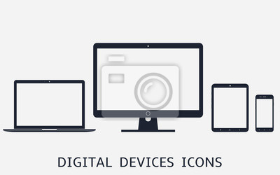Naklejka Set of digital devices icons vector illustration of responsive web design
