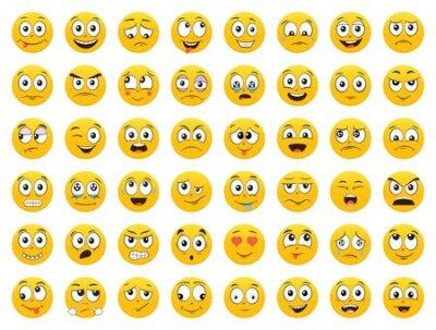 Naklejka Set of Emoticons. Emoji. Smile icons. Isolated vector illustration on white background