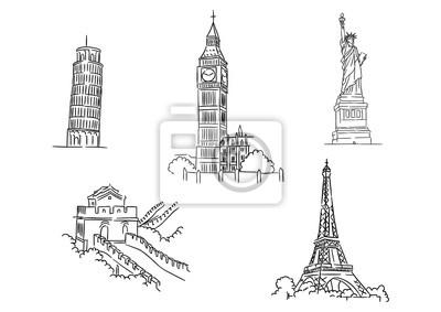 Naklejka Set of famous world landmarks