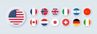 Naklejka Set of flag icon. United States, Italy, China, France, Canada, Japan, Ireland, Kingdom, Nicaragua, Norway, Switzerland, Netherlands. Round icons flags. Neumorphic UI UX user interface. Neumorphism