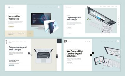 Naklejka Set of flat design web page templates of web and logo design, programming, startup, business services. Modern vector illustration concepts for website and mobile website development.
