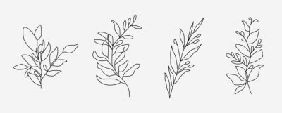 Naklejka Set of flower icons on white background, isolated. Collection of floral signs for luxury minimalistic boho design. No fill and thin outlines plant symbols, garden and greenery with stem. Flower vector