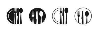 Naklejka Set of fork, knife, spoon. Logotype menu. Set in flat style. Silhouette of cutlery. Vector illustration