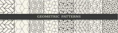 Naklejka Set of geometric seamless patterns. Abstract geometric graphic design simple pattern. Seamless geometric lines pattern.