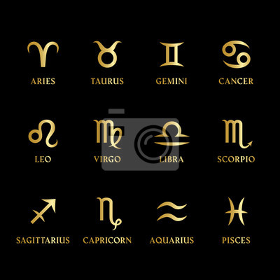 Naklejka Set of gold metal zodiac signs and symbols with names on black background. Horoscope, astrology icons. Twelve constellations isolated. Vector.