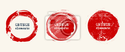 Naklejka Set of grunge vector round and circle. Grunge background.