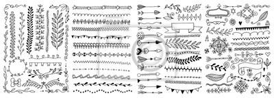 Naklejka set of hand drawing doodle page divider, border, corner in doodle floral style