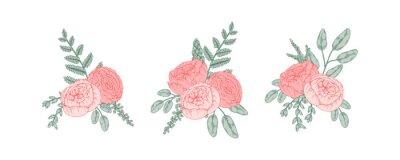 Naklejka Set of hand drawn bunches of flowers. Vector illustration. Wedding floristry design element