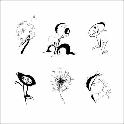 Naklejka Set of hand drawn fantasy flowers. Spring summer flowers dandelion in different form, patterned design elements for logo, tatoo, cards. Vector illustration