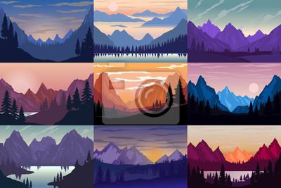 Set of illustrations of cartoon mountain landscapes. Design element for poster, card, banner, flyer.