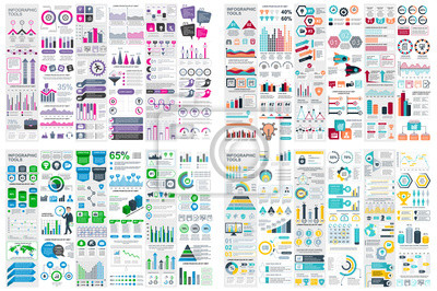 Naklejka Set of infographic elements data visualization vector design template. Can be used for steps, options, business process, workflow, diagram, flowchart concept, timeline, marketing icons, info graphics.