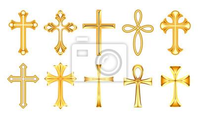 Naklejka Set of isolated christian cross or religion sign