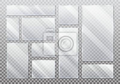 Naklejka Set of isolated glass plate on transparent