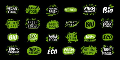 Naklejka Set of labels and stickers for organic food and drink, natural products. Vector illustration concepts for packaging design