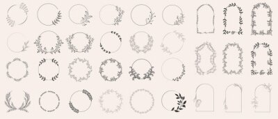 Naklejka Set of laurels frames branches. Vintage laurel wreaths collection. Floral wreaths with leaves, berries. Decorative elements for design. Doodle vector illustration plants. Isolated on white background.