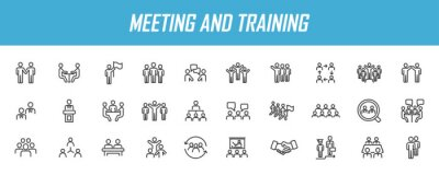 Naklejka Set of linear meeting icons. Training icons in simple design. Vector illustration