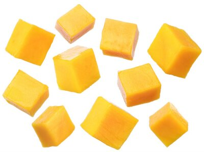 Naklejka Set of mango cubes isolated on a white background. File contains clipping path.
