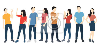 Naklejka Set of men and women standing, in various poses, cartoon character,  people, business, group, vector silhouette, flat designe icon, different colors, isolated on white background