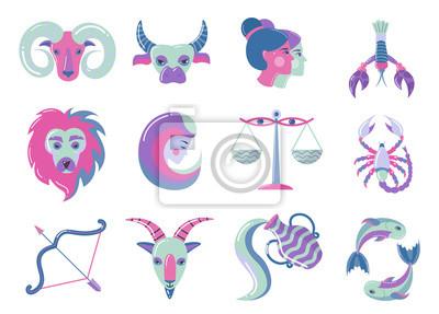 Naklejka Set of modern color zodiac signs, for web design