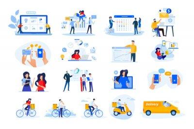 Naklejka Set of modern flat design people icons. Vector illustration concepts of delivery, ebanking, communication, project development, business management, Internet marketing, seo, video calling.