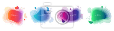 Naklejka Set of modern graphic design elements in shape of fluid blobs. Isolated liquid stain topography. Gradient of blue and green, red and violet geometrical shapes.Blurry background for flyer, presentation