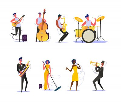 Naklejka Set of musicians performing on scene. Group of musicians singing and playing musical instruments. Performance concept. illustration can be used for presentation, project, webpage