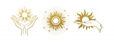 Naklejka Set of mystical logos with the sun. The hand holds the sun. Set of vector drawings for boho dihain, astrology, horoscope. Black doodle illustration isolated on white background