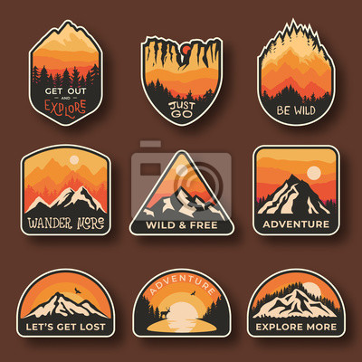 Naklejka Set of nine mountain travel emblems. Camping outdoor adventure emblems, badges and logo patches. Mountain tourism, hiking. Nature labels in vintage style
