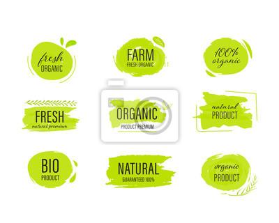 Naklejka set of Organic label and natural label hand drawn brush. Tag and Sticker Farm fresh logo vegan food mark.