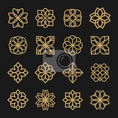 Naklejka Set of ornament logo design. Flower arabic logo line black and gold