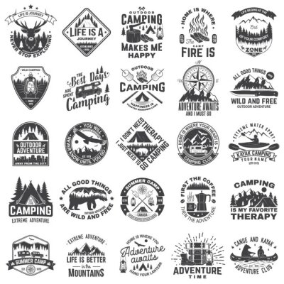 Naklejka Set of outdoor adventure inspirational quote. Vector. Concept for shirt, logo, print, stamp or tee. Vintage typography design with camper tent, mountain, forest landscape silhouette.