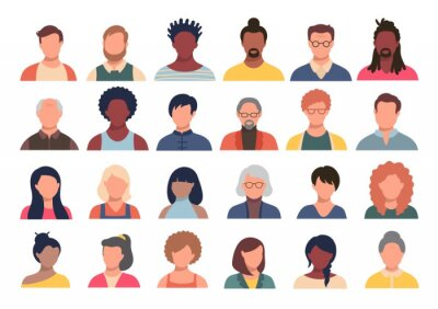 Naklejka Set of persons, avatars, people heads of different ethnicity and age in flat style. Multi nationality social networks people faces collection.