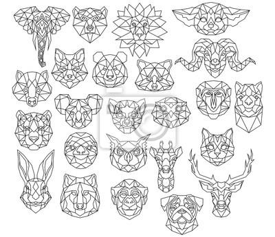 Naklejka Set of polygonal animal portraits. Collection of geometric animal heads. Black white illustration. Linear art. Tattoo.