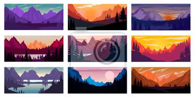 Naklejka Set of poster template with wild mountains landscape. Design element for banner, flyer, card. Vector illustration