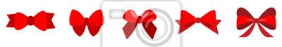 Naklejka set of Red bow flat design isolated on white background