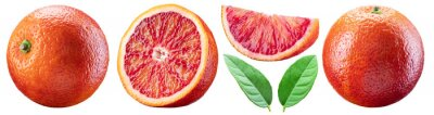 Naklejka Set of red orange, orange slices and orange leaves. File contains clipping paths.