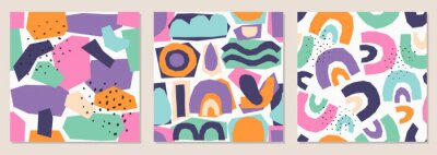 Naklejka Set of seamless pattern background with abstract paper cut shapes, contemporary collage style