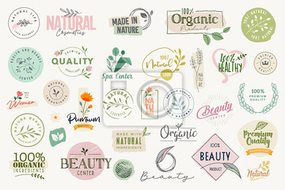 Naklejka Set of signs and elements for beauty, natural and organic products, cosmetics, spa and wellness. Vector illustrations for graphic and web design, marketing material, product promotions, packaging desi