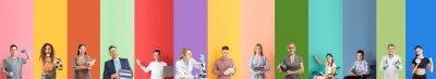 Naklejka Set of teachers on color background