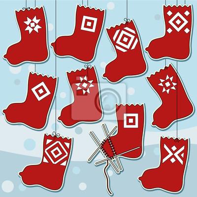 Set of Ten Woolen Knitted Socks Icons