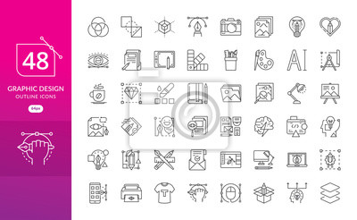 Naklejka Set of thin line icons of graphic design. Simple linear icons in a modern style flat, Creative Process. Graphic design, creative package, stationary, software and more