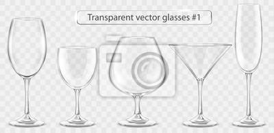 Naklejka Set of transparent vector glass goblets for wine bar