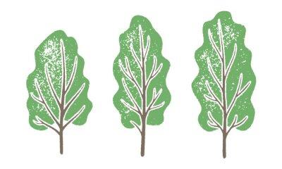 Naklejka Set of trees with a grainy texture