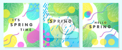 Naklejka Set of unique spring cards with bright gradient backgrounds,tiny leaves,fluid shapes and geometric elements in memphis style.Abstract layouts perfect for prints,flyers,banners,invitations,covers.