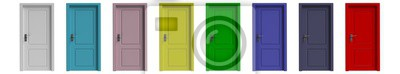 Naklejka Set of various colors closed doors isolated cutout on white background. 3d illustration