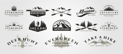 Naklejka set of vector adventure mountain outdoor vintage logo symbol illustration design, vintage bundle logo design