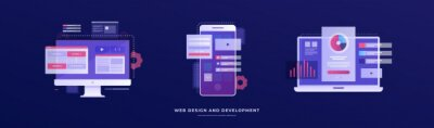 Naklejka Set of vector illustrations on the theme of web design and development. Smartphone, laptop, and monitor with interface elements on a blue background. Mobile app development concept.