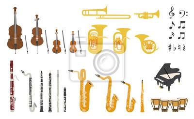 Naklejka Set of vector modern flat design orchestra instruments