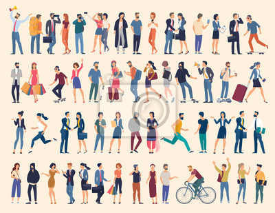 Naklejka Set of vector ready to animation people characters performing various activities. Group of men and women flat design style cartoon characters isolated on white background.